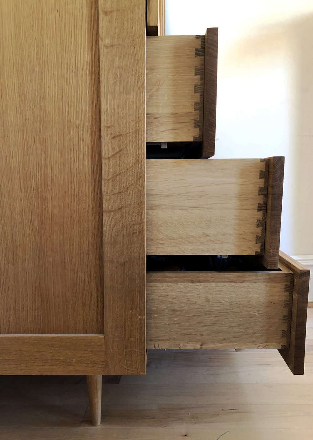 quartersawn white oak armoire drawers.jpg