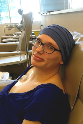 Melissa at her 2nd chemo infusion.
