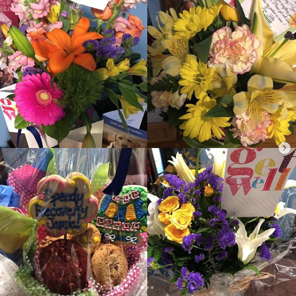 Get well flowers from loved ones.