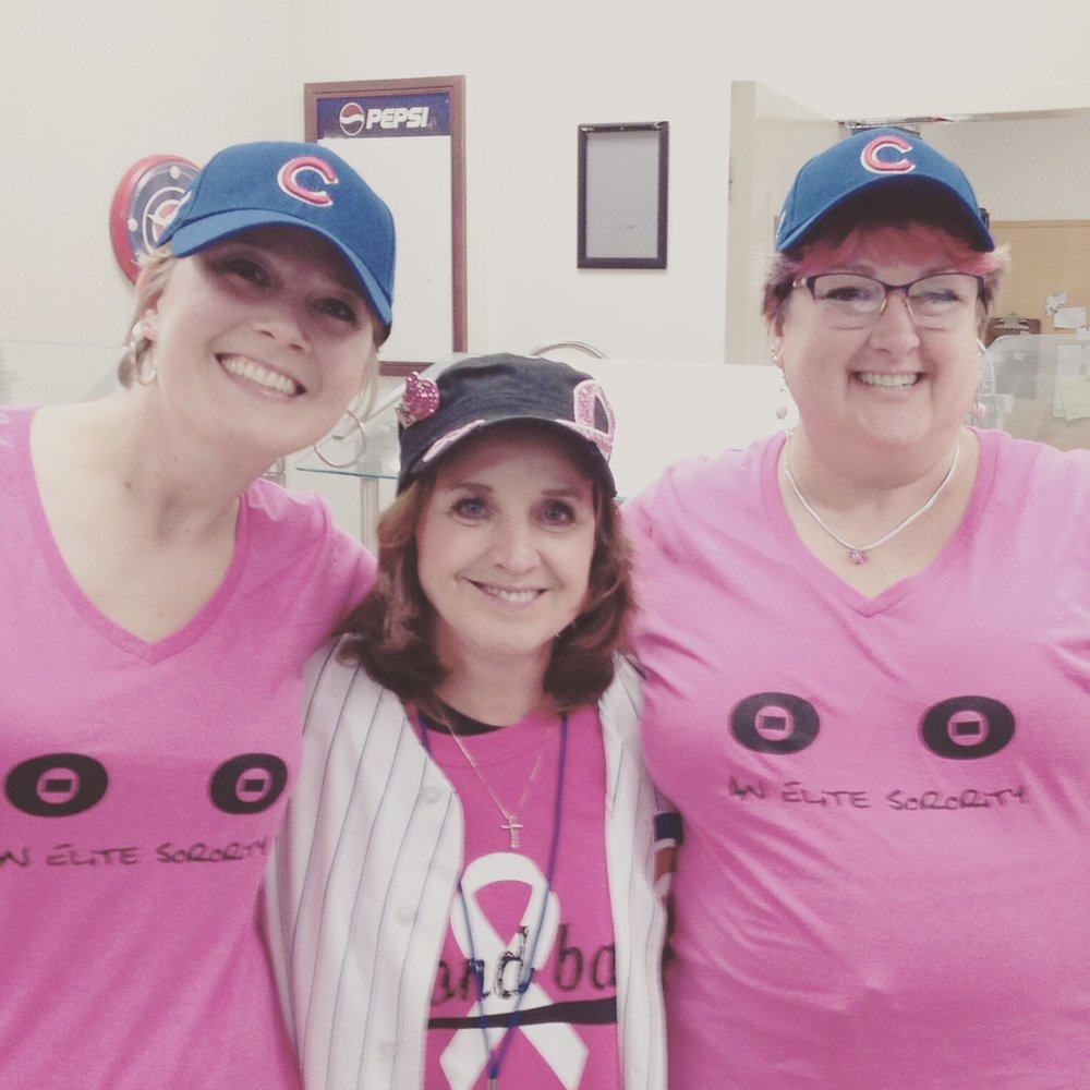 Tina with her friends Sandy and Ronnie at the Cubs game.