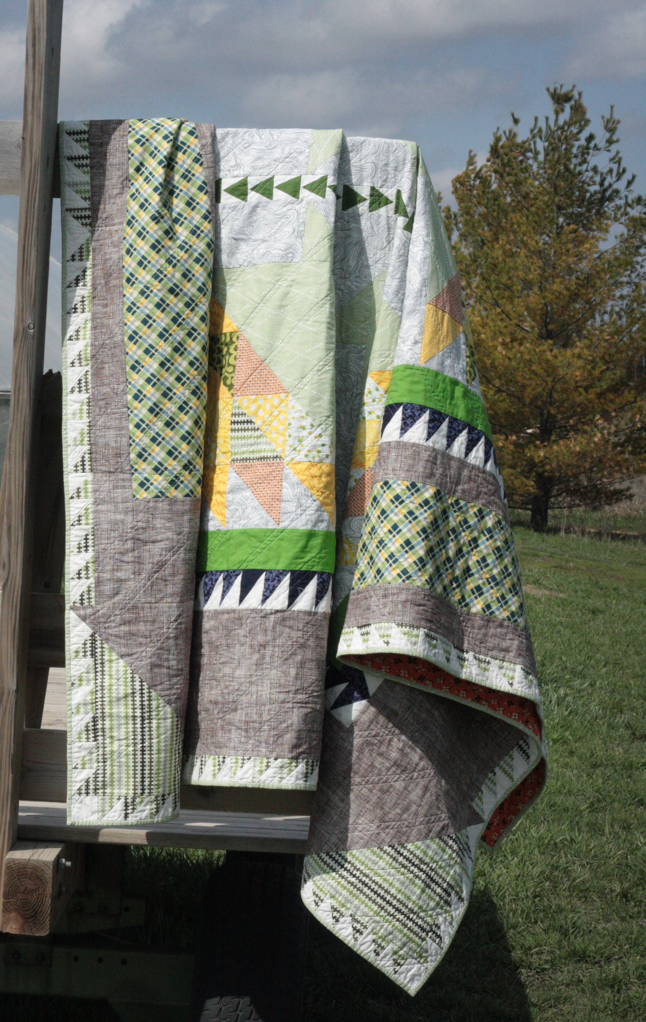 basket of chips quilt on rack