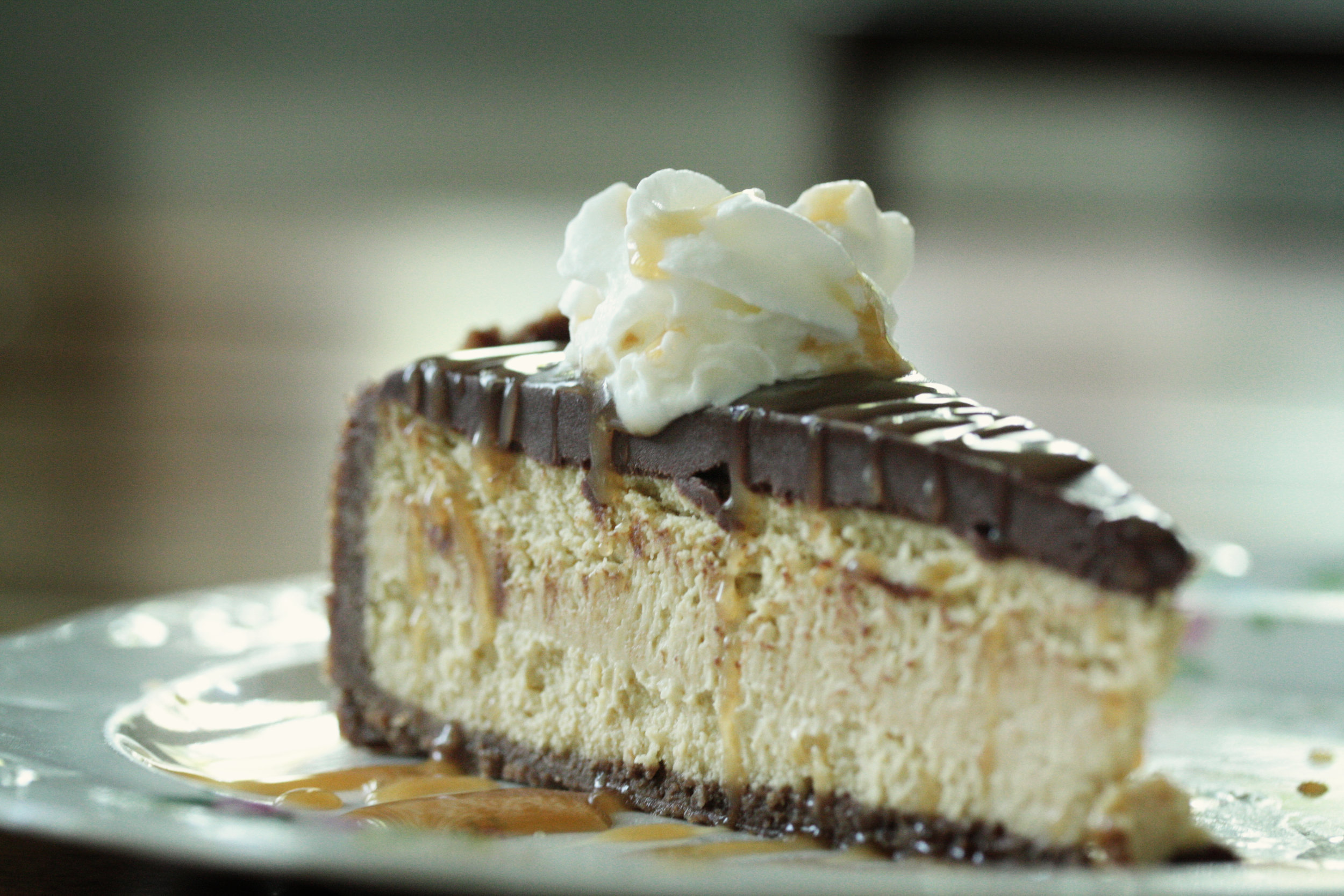 iced mocha cheesecake on plate