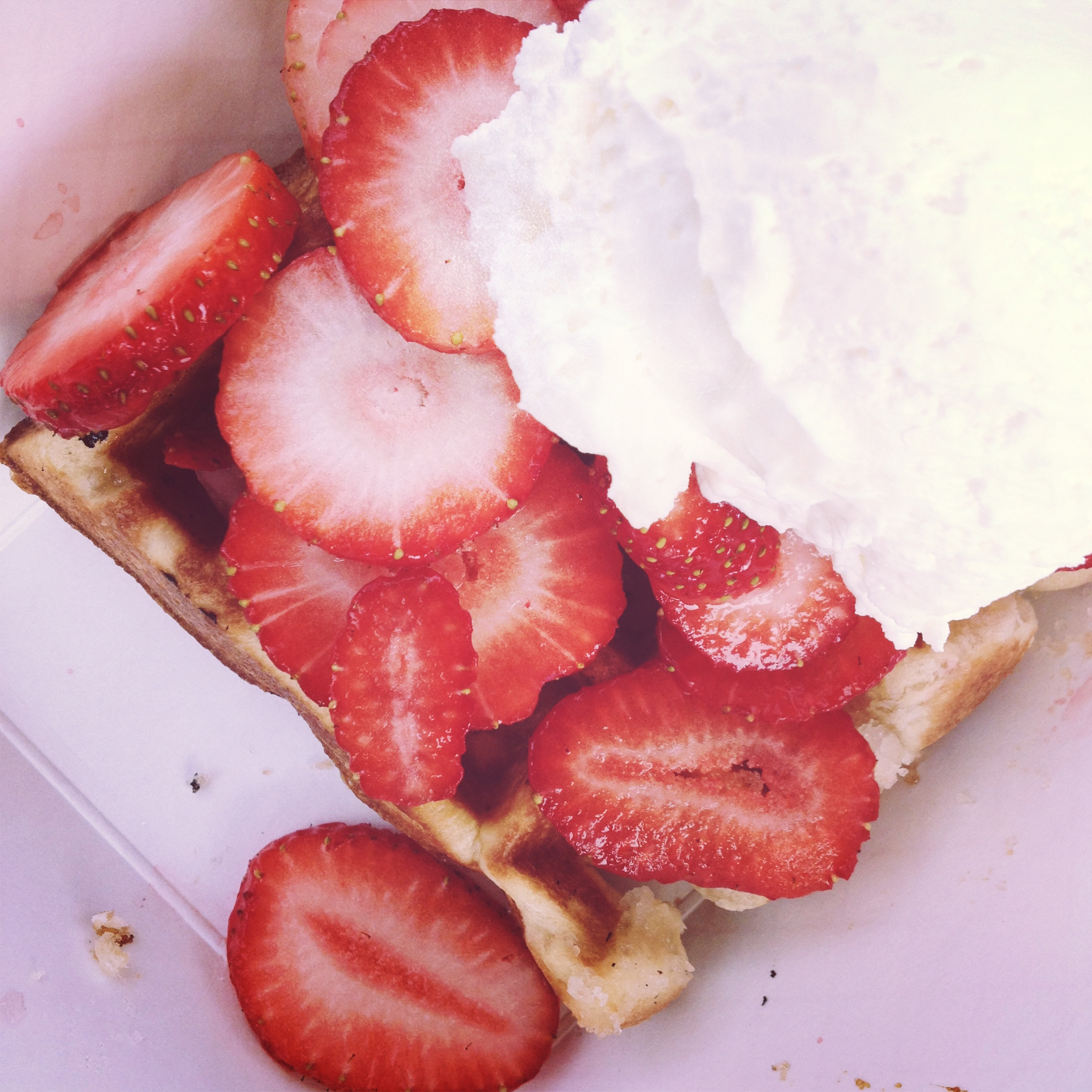 strawberry waffle with creme fraiche