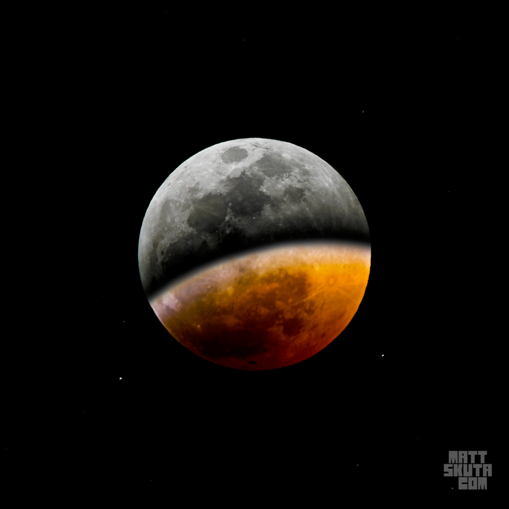 Dual exposure during partial eclipse (Jan 20, 2019; 20:04 PST)