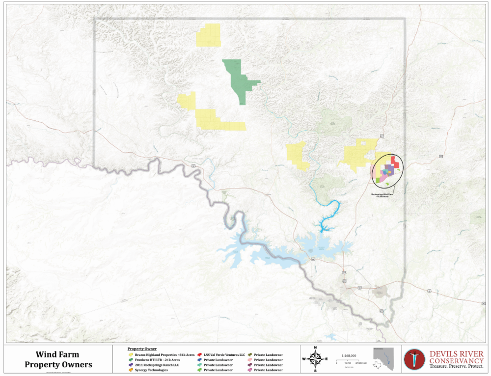 *Information sourced from Val Verde County Appraisal District   Map of current and proposed wind farm properties in Val Verde County.