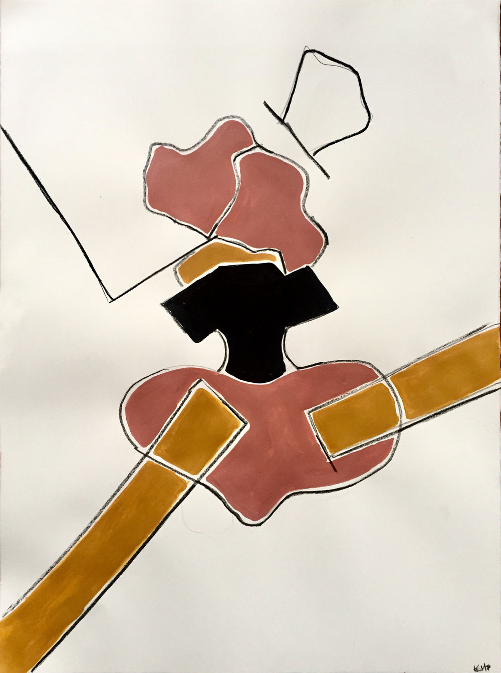 Pelvis , 2018, 30x22, Acrylic on paper
