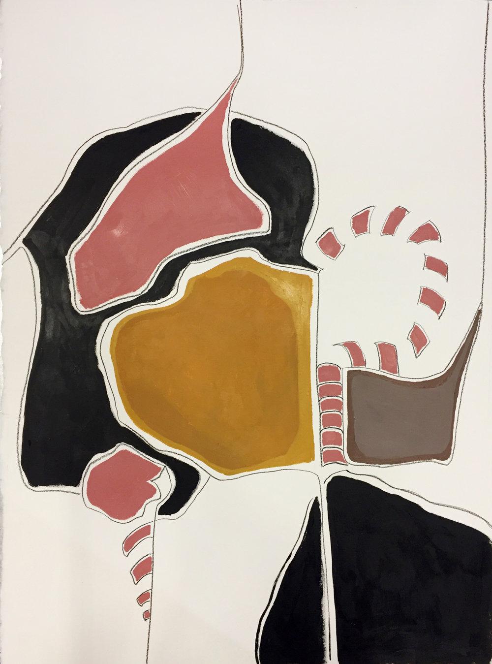 Vertebrae , 2018, 30x22, Acrylic on paper