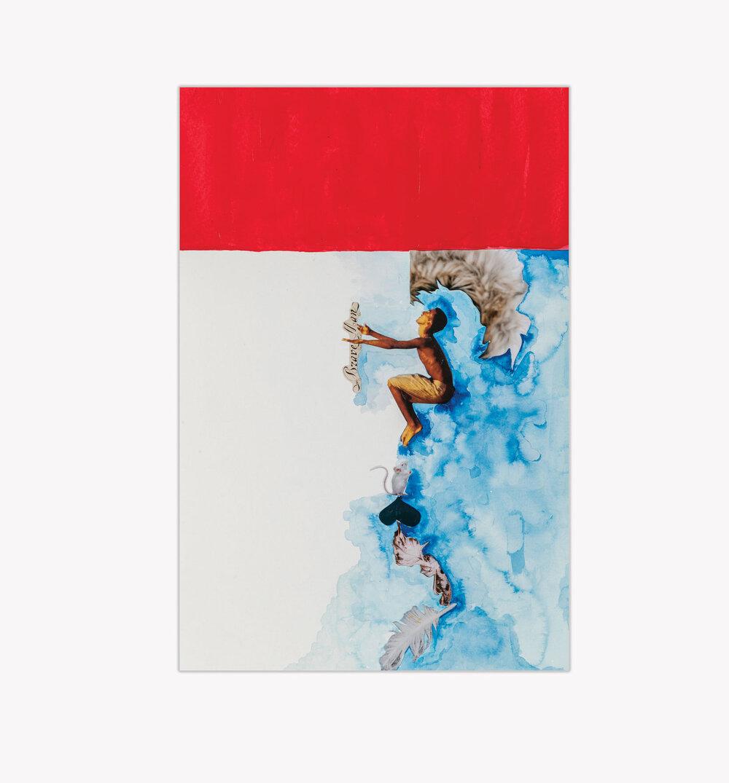 Brave Man,  mixed medium collage on paper, 2017,15x10