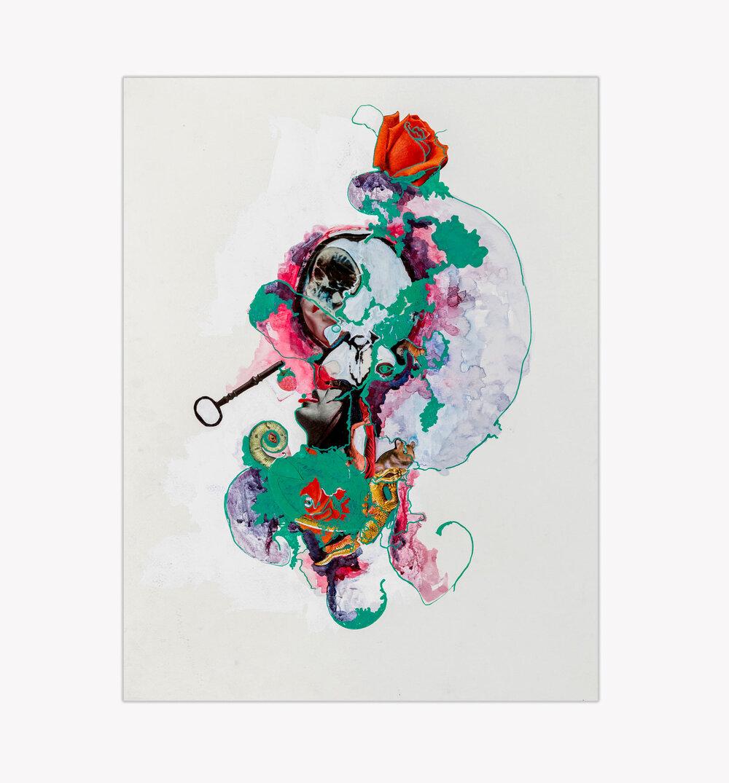Acid Rebellion,  mixed medium collage on paper, 2017, 24x18