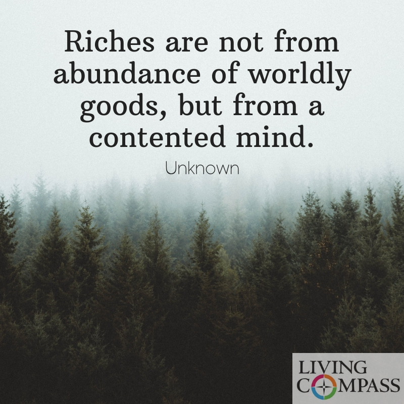 Riches are not from abundance of worldly goods, but from a contented mind.