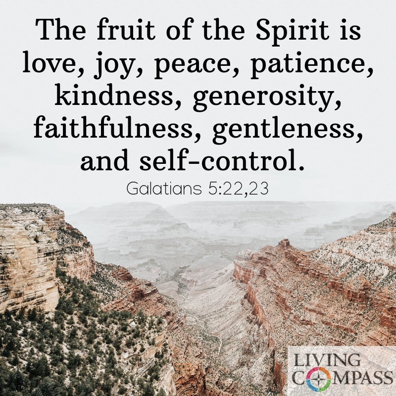 The fruit of the Spirit is love, joy, peace, patience, kindness, generosity, faithfulness, gentleness, and self-control.