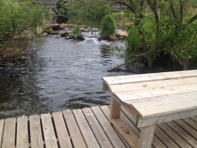 The floating bridge over Lord's Pond, part of the watershed trail system..