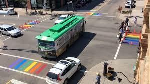 Rainbow crosswalks at Charlottetown's main intersection.