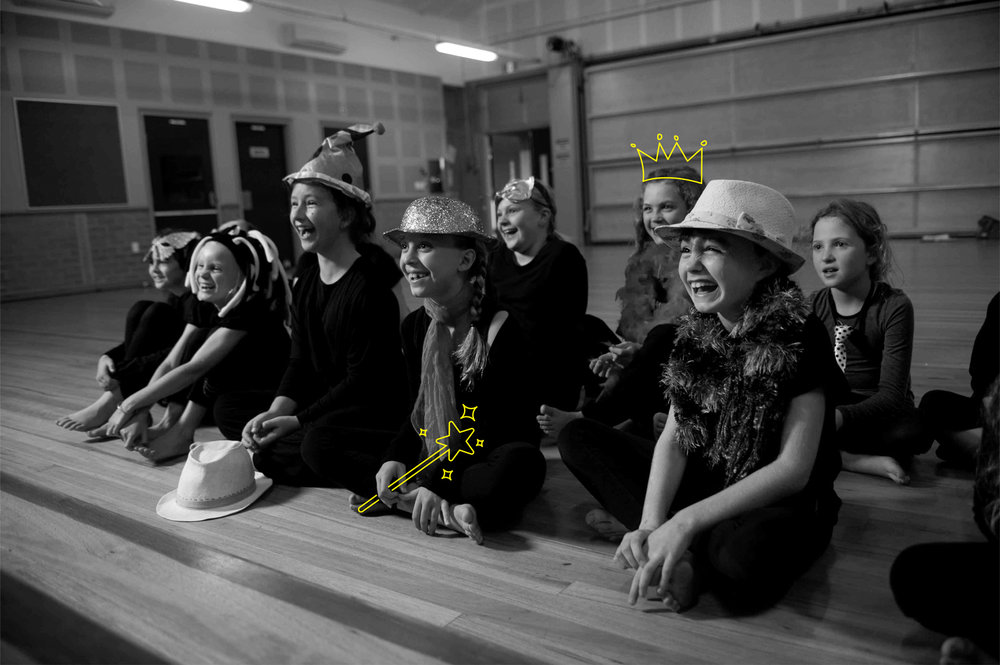 Kids having fun during a drama class