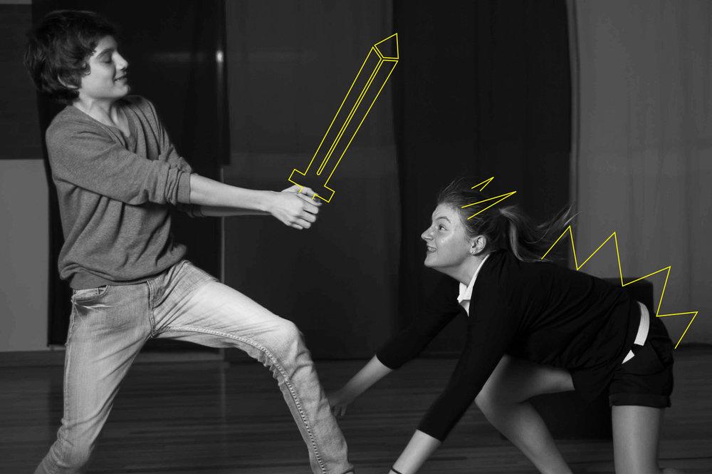 teenagers acting sword fight