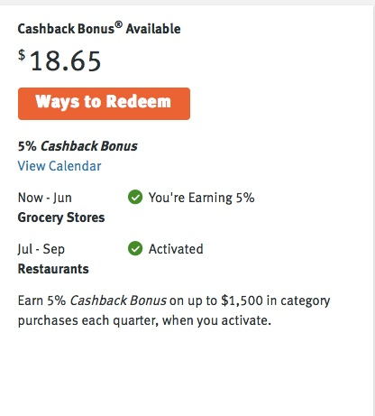 Discover keeps a display panel of your current cash back earnings & adds your previous statement's earnings with each new statement. It's one of my favorite credit cards. And look at those bonus categories!