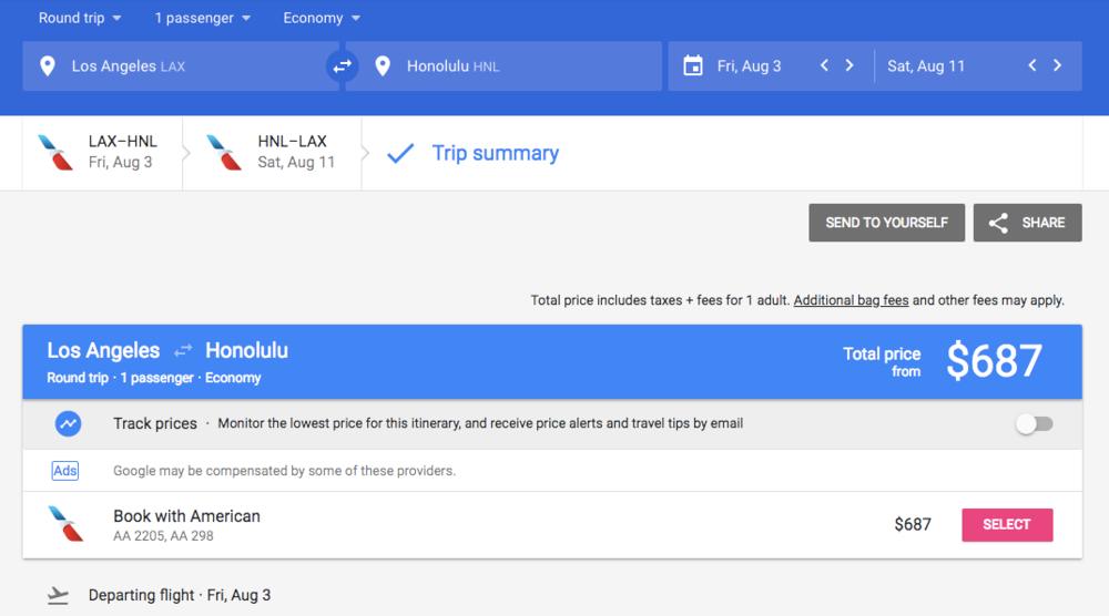 Google Flights American Airlines Honolulu
