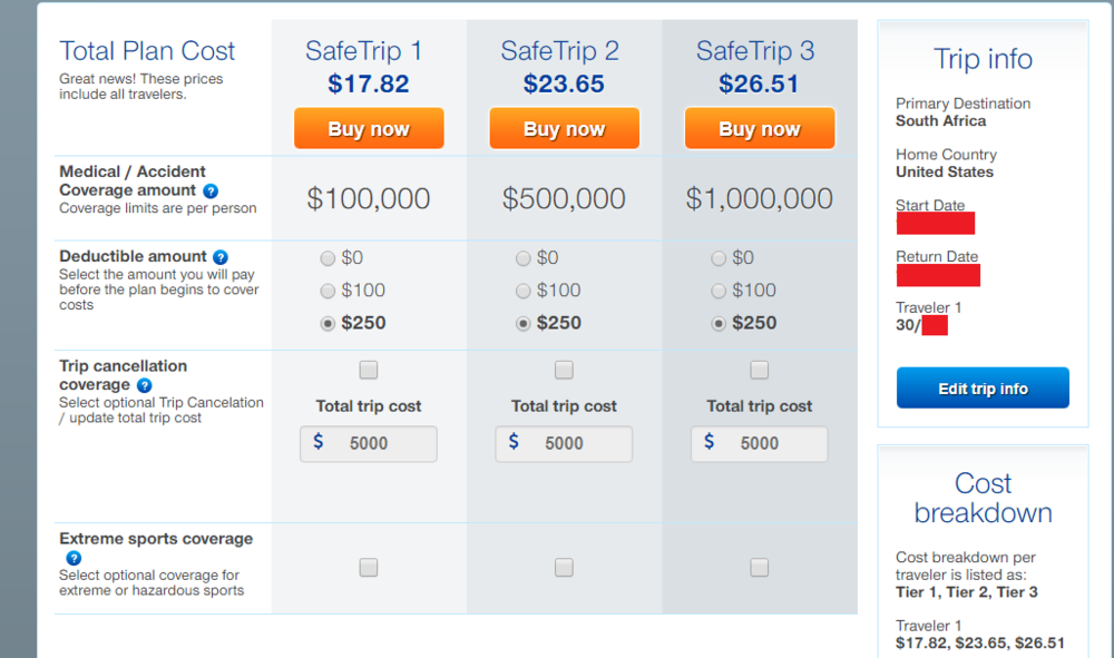 SafeTrip Travel Insurance Comparison with deducitbles, accident amount, trip cancellation coverage, etc.