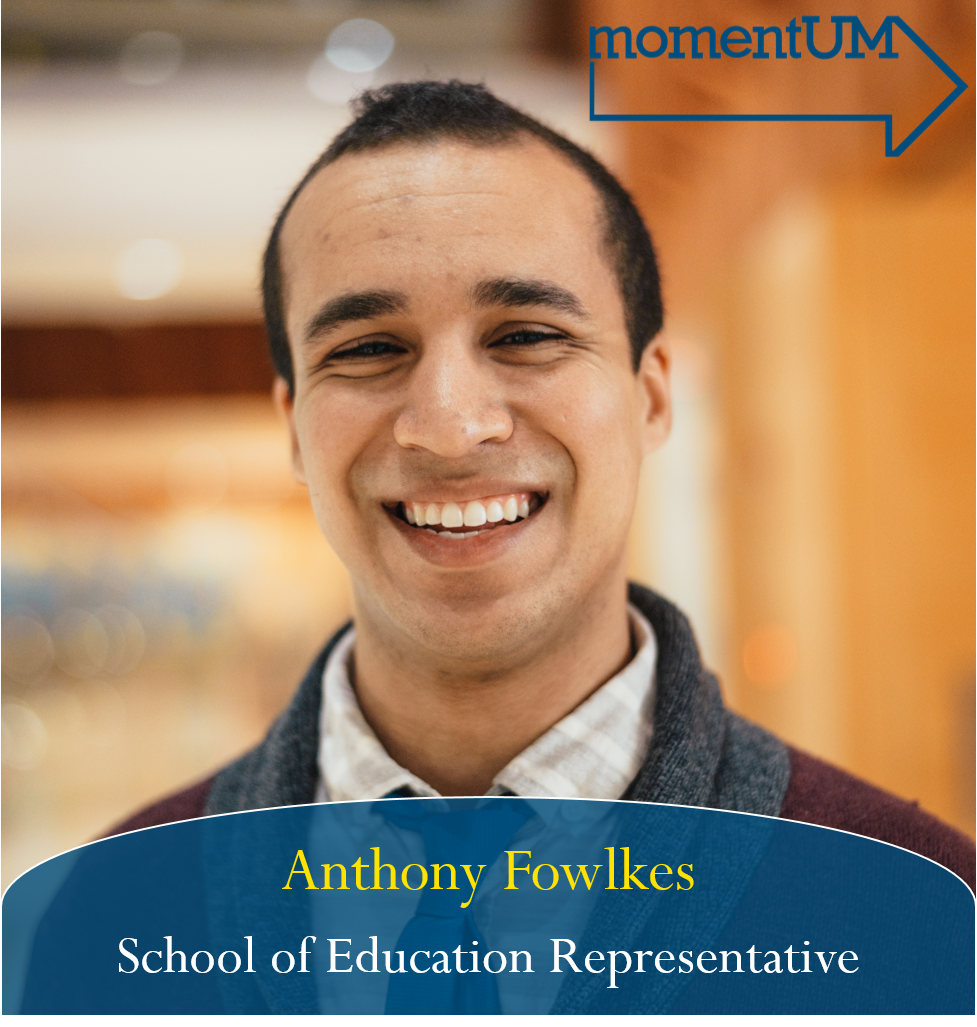 As School of Education Representative, Anthony will strive for 3 main goals: fostering cross-communication and community building among School of Education programs, equitable resource distribution namely in the facilities upkeep/improvements for the schools and colleges, and a larger goal of data transparency in student aggregate data at the university level. These goals hit home for him as he sees how much School of Ed students do with less than most programs and camaraderie we can foster around our passion for education.