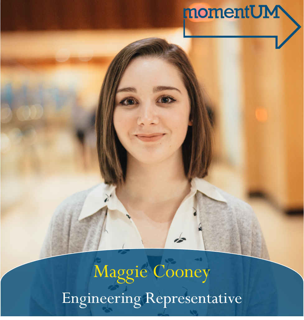 Maggie is running to be an Engineering Representative.Mental Health is one of the most important issues on campus right now. We all know someone who has struggled with staying happy and healthy at college, and the resources provided to students by the University are just not enough. Maggie would like to work to improve accessibility and awareness around the mental health resources that the University offers and to develop new ways to raise awareness about mental health on campus.