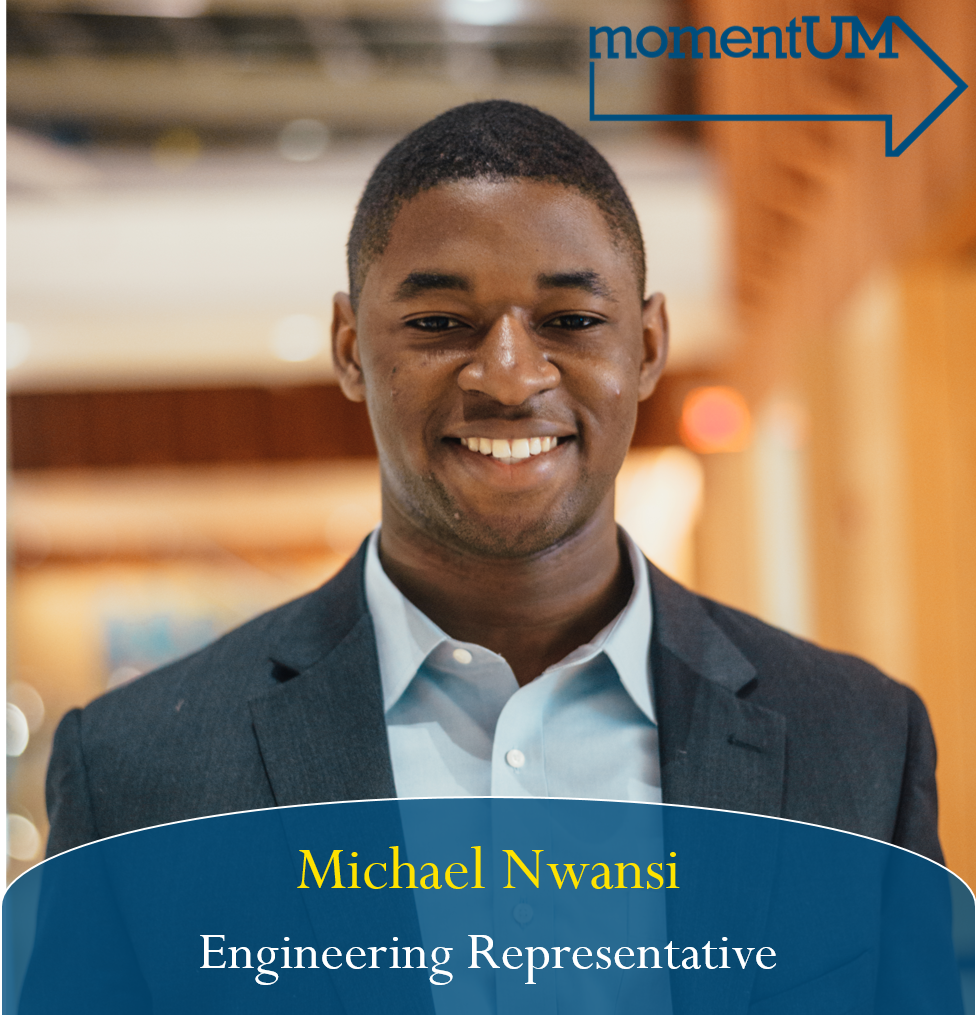 Michael is running to be an Engineering Representative.It's important that Engineers on campus feel properly equipped to handle their heavy workloads. He plans to help this, in part, by substantially expanding the textbook rental services in the Duderstadt and providing a central location for professors or GSIs to post and adjust office hours.