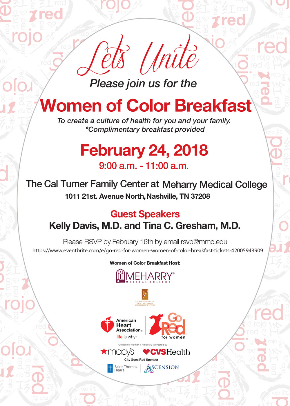 Women of Color - Saturday, February 24, 2018Women of Color Breakfast, Healthy Heart Choices, @ The Cal Turner Family Center.
