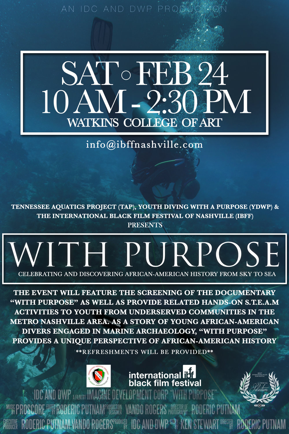With Purpose: Celebrating and Discovering African-American History - Saturday, February 24, 2018The event will feature the screening of the documentary With Purpose as well as provide related hands-on STEAM activities to youth from underserved communities in the Metro Nashville Area. As a story of young African-American divers engaged in marine archaeology, searching for the slave ship Guerrero, sunk off the coast of Florida in 1827 with 561 captured Africans on board.