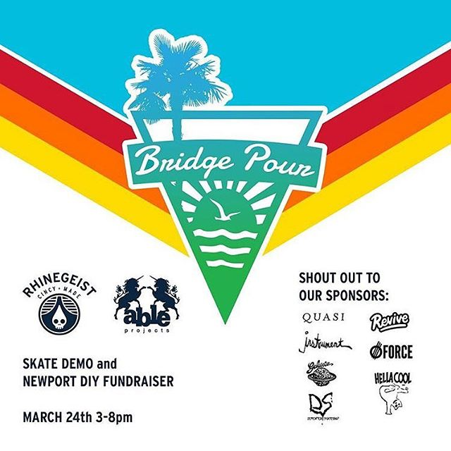 BRIDGE POUR 2: a Newport DIY fundraiser...coming at you this Saturday at @rhinegeist brewery from 3-8pm...new skateAble from @ableprojects BATsketball returns! ...and we will unveil our latest carnie game! Live music with @tweensband Buy a pint of WEEKDAY, play a carnie game and the proceeds go to help grow the Newport DIY! Big thanks to Rhinegeist Brewery and all of our sponsors that made this possible! @ableprojects @galaxieskateshop  @quasiskateboards  @instrumentskateboards  @hellacoolsbc  @reviveskateboards  @forcewheels  @dementedshredshop