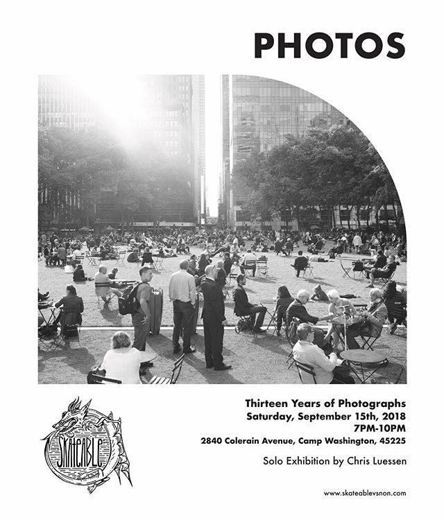SATURDAY! Join us for Thirteen Years of Photograph by our friend @chrisluessenapproved, 7-10pm