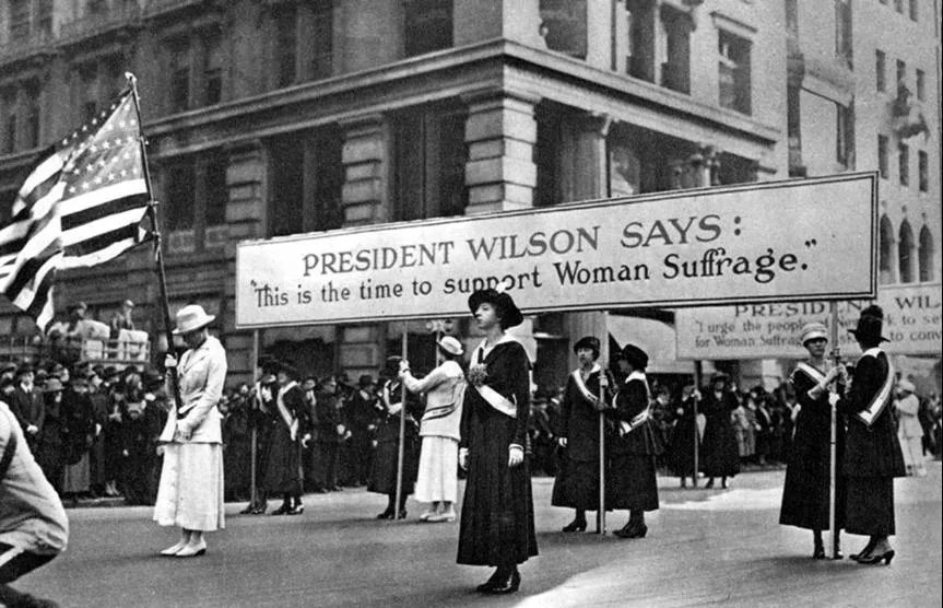 Women suffragists march for the right to vote during the presidency of  Woodrow Wilson . (Photo credit: www.woodrowwilson.org )
