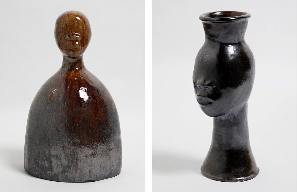 New sculptures by Ms. Leigh that conflate women's heads with pitchers and vases.CreditSimone Leigh/Luhring Augustine, New York:  Photo by Farzad Owrang