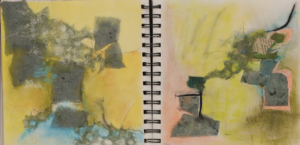 Building Blocks   Mixed Media on Paper  7 x 14 inches