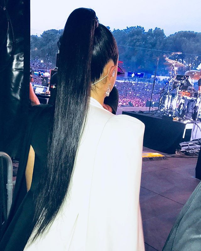 SNATCHED  looking 🔥 in her @thewildform pony @ddlovato watches the crowd moments before hitting the stage.  #hair #hairhero #hairextensions #cesar4styles #cesardoo #wildform