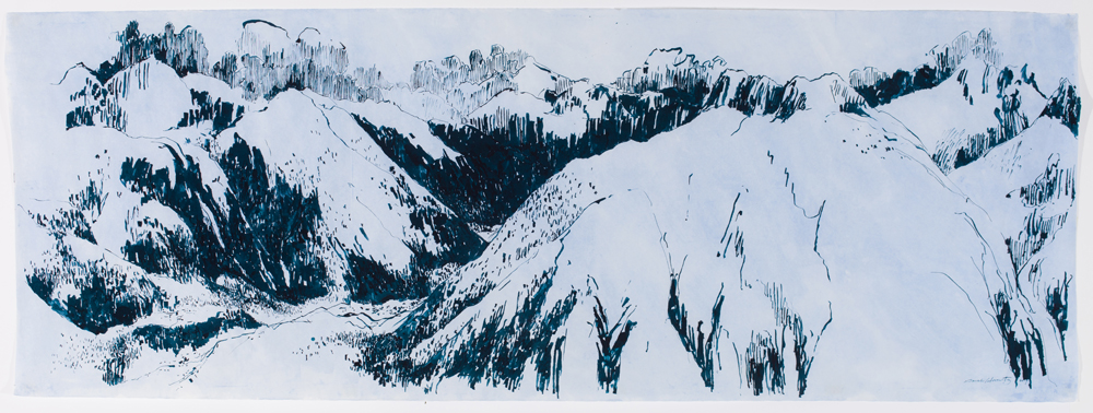 "Eggishorn   ink on dyed Japanese mulberry paper, 38 x 104"", 2017"