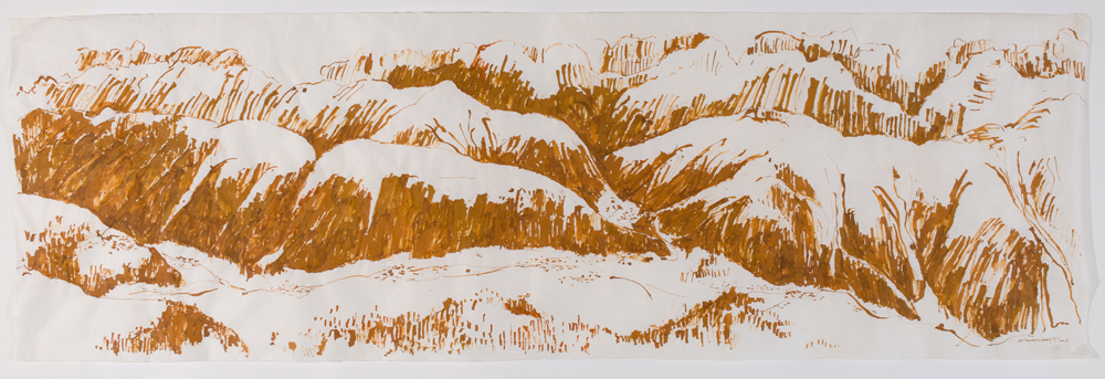 "From Fiescheralp   ink on Japanese mulberry paper, 38 x 118"", 2017"