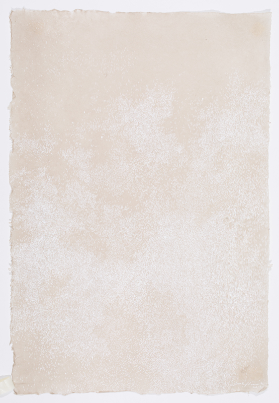"Fog , white sumi on flax paper, 29 x 19.5"", 2017"