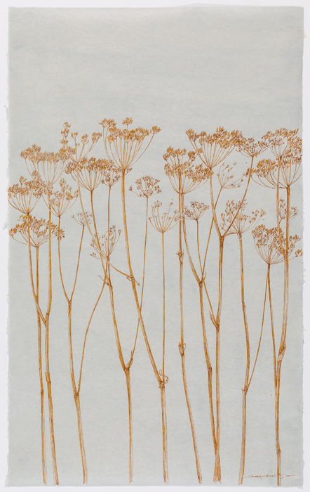 "Ochre Stalks , sumi ink on Japanese paper, 39.5 x 24.5"", 2017"