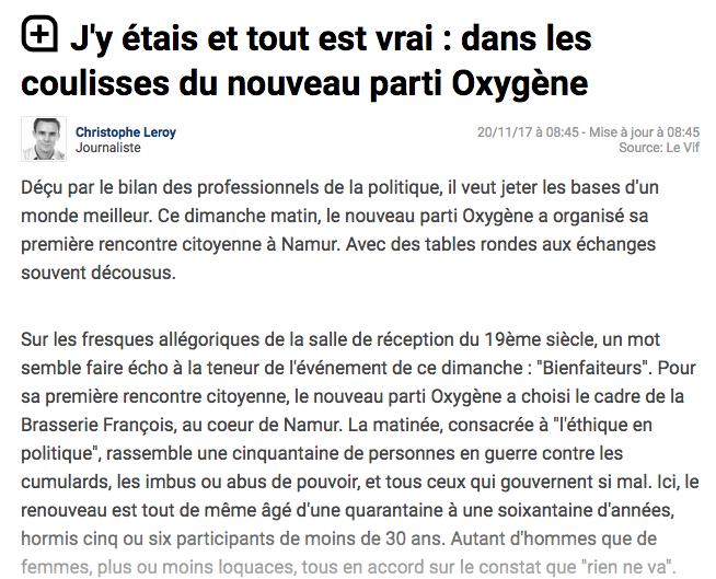 Le Vif, 20.11.2017