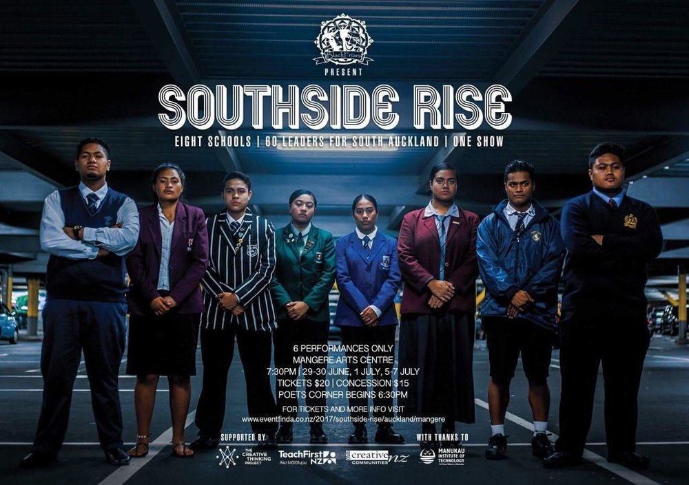 "Directed and edited by Simulata Pope. 26 Minutes  Southside Rise: Behind the show is a short documentary highlighting the journey of 60 young Polynesian Leaders from 8 South Auckland schools in a movement which signifies leadership and education. These young people worked tiredly with the Black Friars Theatre company, to sell out a full-scale original production using creative mediums of dance, theatre, music, media and spoken word. Interwoven in this film are the personal insights of the directors and the key production departments themselves which reassures coming ""from the hood. Too the hood. To heal the hood."" (Dr Michelle Johansson). Southside Rise: Behind the show, shows the journey of what really happened behind the scenes on a level that will depict what it takes to put on a show and also what it takes to Rise."