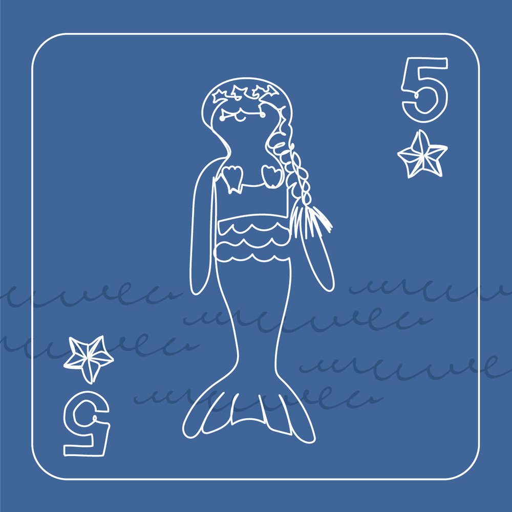 5 mermaids swimming