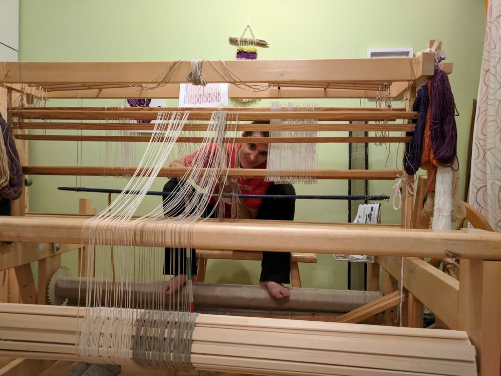 Zoe with loom.JPG