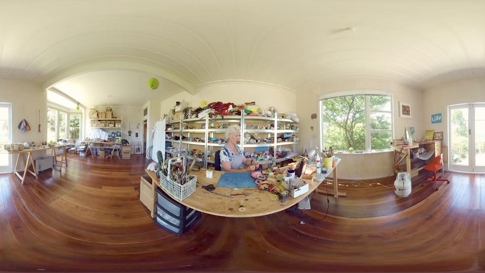360 Photo - Lisa Walker in her studio in VR. Photograph taken by Brian Goodwin.