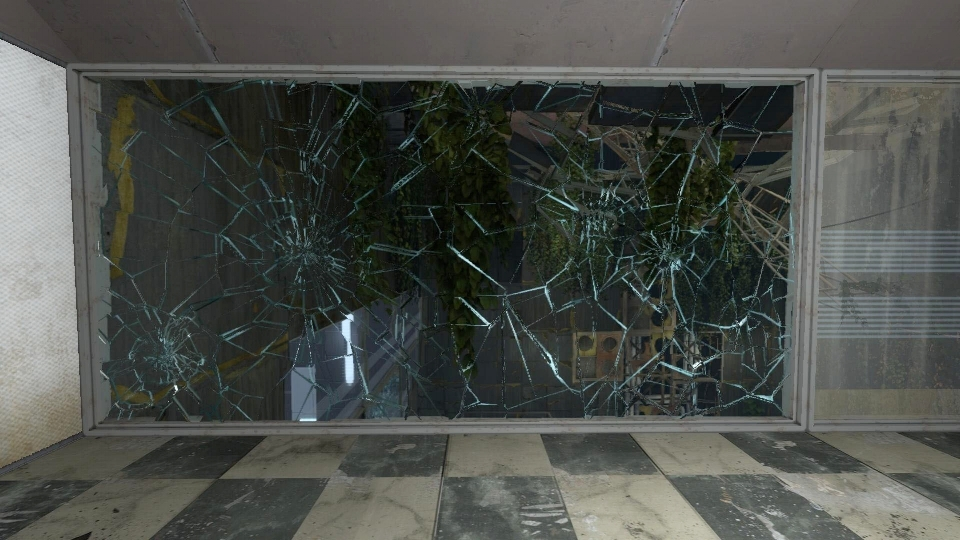 Cracks indicate that certain windows can be broken in enough force is applied