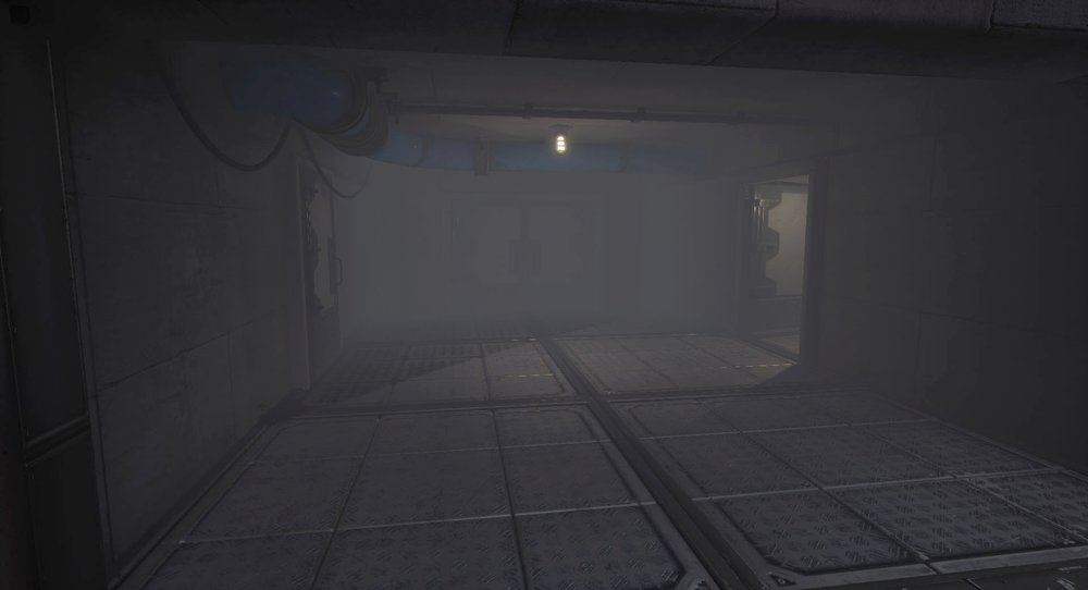 Inside the first building lights and the pipes guide the player to the open door