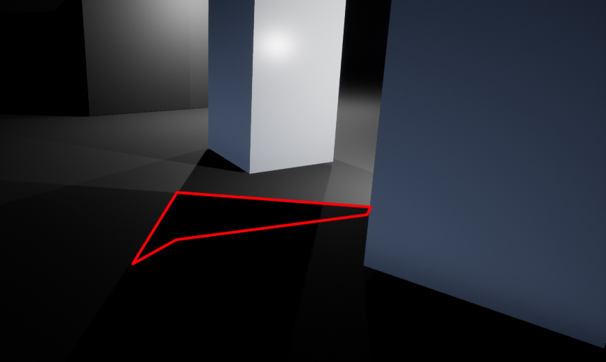 Without a direct light shadows and the script both give the impression that the red area is suitble for stealth