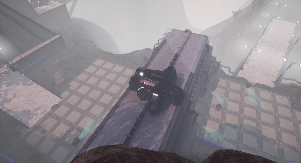 The player can observe the dangers below.