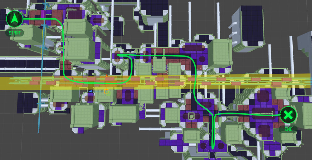 The subway tracks go over the length of the level sometimes intersecting with the player path