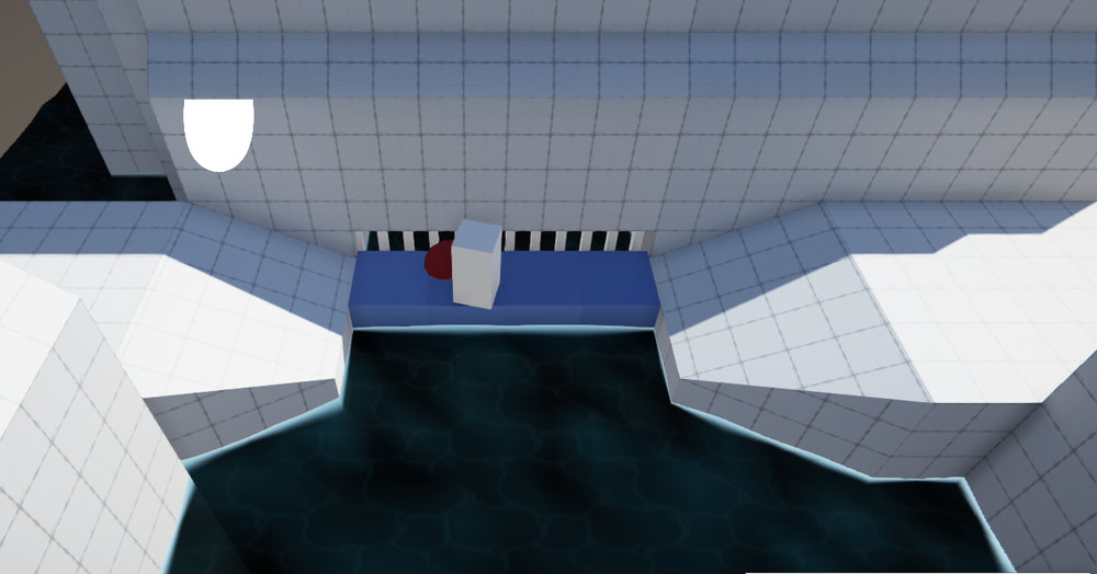 A early version of a puzzle involving streaming water and buoyancy to form a bridge