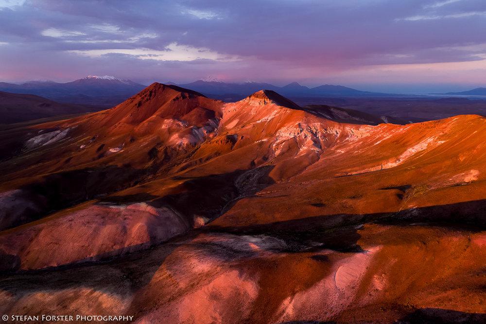 Einmalige Sonnenuntergangsstimmung in den Anden von Chile - Aufgenommen auf 5'200 MüM
