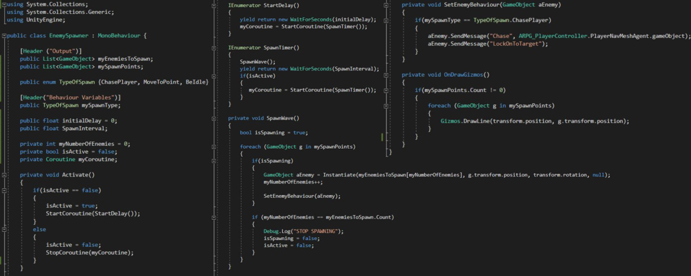 The C# Code used in the EnemySpawner. Which is one of the scripts that fit within the Modular Event System.